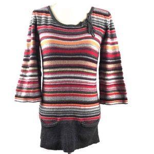 Sparrow Wool/Angora Blend Tunic Sweater Striped XL